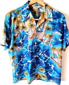 Vintage Townsley Shirt Sz XL Men's Tropical Island Short Sleeve Button Down Tiki #Townsley #Hawaiian #SummerBeach #Vintage #Tiki