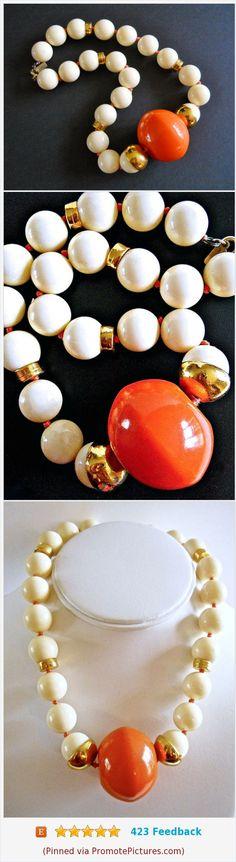 Orange Large Beaded Cream Color Necklace, DONALD STANNARD, Acrylic Vintage Signed #necklace #donaldstannard #mod #orange #creamcolor https://www.etsy.com/RenaissanceFair/listing/559206956/orange-large-beaded-cream-color-necklace?ref=listings_manager_grid  (Pinned using https://PromotePictures.com)