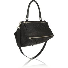 Givenchy Medium Pandora bag in washed-leather (21.090 NOK) ❤ liked on Polyvore featuring bags, handbags, shoulder bags, black, zipper purse, leather shoulder bag, leather handbags, top handle purse and top handle handbags
