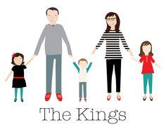 Digital Custom Family Portrait Illustration by DottyEllipsis, $15.00