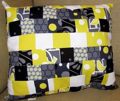 citron and gray patchwork pillow