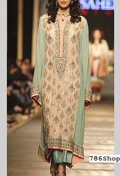 Fawn/Sea Green Crinkle Chiffon Suit | Buy Pakistani Formal Dresses and Clothing Online in USA | www.786shop.com