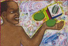 Papa Mfumu'Eto 1er - Série miniatures - Mekako, 2014, acrylique sur toile, 24 x 35 cm