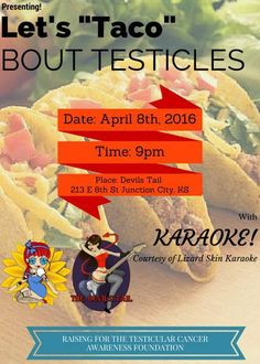 The Modified Dolls Kansas Chapter will be co-hosting this event with Devil's Tail in Junction City! Join our #KS dolls, get some tacos and raise awareness&funds for Testicular Cancer Awareness Foundation.  #ModifiedDolls #ModifiedWomen #NonProfit #SupportingCharities #Kansas #KSdolls #fundraising #DevilsTail #tacos #karaoke #event #TesticularCancerAwarenessFoundation