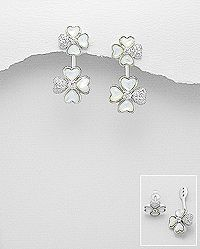 sterling silver clover earrings set  with cz and decorated with shell