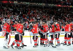 March 29, 2012: The Blackhawks congratulated each other after completing a home sweep in the regular-season series against STL with a 4-3 shootout victory.