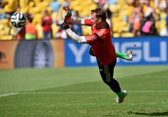 Germany's goalkeeper Manuel Neuer makes a save during the warm-up.