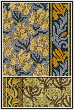 Морис Верней Цветочный Ирис вышивки крестом картины № 2 PDF Art Nouveau Ботанический вышивки крестом