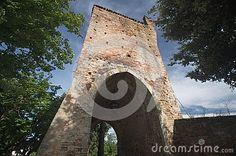Ripatransone, medieval town in the Marche region, Piceno's county. View over Porta di Muro Antico, XVI century