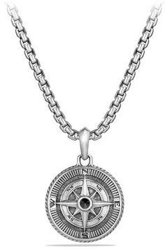 David Yurman Maritime Sterling Silver Compass Amulet w/Black Diamond