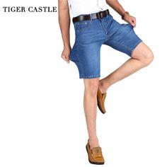 TIGER CASTLE Big Size 42 Men Denim Shorts Elastic Leisure Men Jeans Blue Bermuda Summer Stretch Male Knee Quality Jeans Shorts #Affiliate