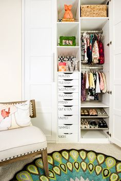 Help your child get dressed in the morning by labeling drawers or baskets, like in this closet found on Project Nursery. Since everything has its own specific spot, you'll never run late because you couldn't find the striped socks your daughter needed to wear. See more from the little girl's room here >>   - HouseBeautiful.com