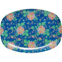Melamine plate blue bold flower