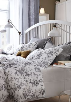 Alvine Kvist Duvet Cover And Pillowcase S White Gray Full Queen Double Queen Ikea Home Ikea Bed Bed Frame