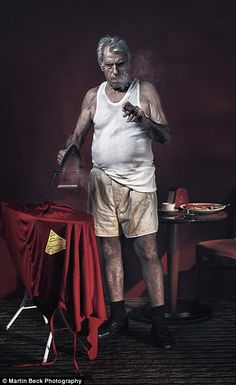 The moody portraiture of an ironing, cigarette-smoking Superman echoes Charles Bukowski...
