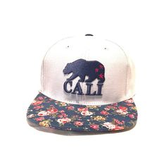 6db7dc3bc656b American Needle Strapback Floral Cali Hat Grey cap with floral print bill  and accents.California bear in navy blue American Needle Accessories Hats