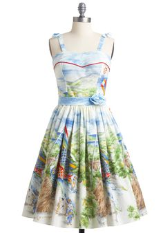 "Some of my best childhood memories are of feeding koi fish at botanical gardens. ""Koi to the World"" dress, ModCloth."