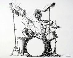 Illustration by Claude Serre for Musiques: The drummer Mario Miranda, Drums Artwork, Drum Tattoo, Drum Music, How To Play Drums, Cartoon Sketches, Claude, Sound Of Music, Caricature