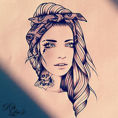 Love this traditional style portrait tattoo Amazing Drawings, Amazing Art, Black Tattoos, Girl Tattoos, Art Sketches, Art Drawings, Rik Lee, Sugar Skull Tattoos, Tattoo Illustration
