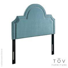 Tov Furniture Laylah Queen Headboard Sea Blue Velvet