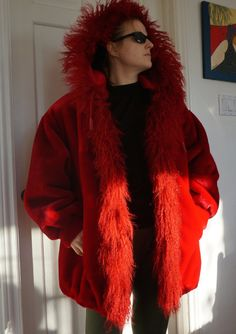 VINTAGE RED COAT Winter Womens Plus size