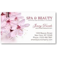 Pink Blossom Spa Massage Nail Beauty Salon Business Cards By Pics4merch