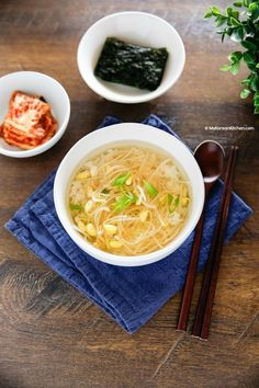 Healthy, nutritious and heart warming Korean bean sprout soup recipe. It& also known as a hangover soup in Korea. It& light and refreshing! Korean Bean Sprout Soup Recipe, Bean Sprout Recipes, Easy Korean Recipes, Asian Recipes, Healthy Recipes, Vegetarian Recipes, Healthy Food, Hangover Soup, Tofu