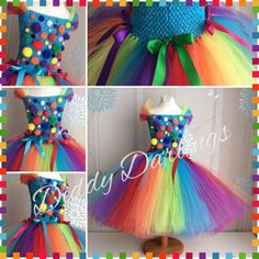 Clown Tutu Dress Clown Rainbow Inspired Handmade Tutu Dress All Sizes, Customized Rainbow Tutu Dress Colored Pom Poms Rainbow Party Dress Last Minute Halloween Kostüm, Pom Poms, Tutu Rock, Robes Tutu, Rainbow Tutu, Rainbow Room, Satin Bows, Ribbon Bows, Tutu Outfits