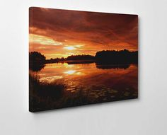 The vibrance of the red sky in this canvas artwork is something you just have to see to believe. This type of landscape artwork looks perfect anywhere, its that good!