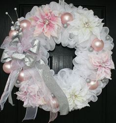 Pink and White Poinsettia Christmas Deco Mesh Wreath by WreathChic Christmas Wreaths To Make, Pink Christmas, Holiday Wreaths, Christmas Crafts, Christmas Decorations, Winter Wreaths, Victorian Christmas, White Christmas Trees, Craft Rooms