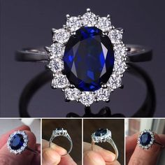 """Solid 925 Sterling 3ct Oval Sapphire Ring Stunning Princess Diana inspired Engagement Ring. 3ct oval sapphire stone surrounded by tiny CZ stones in solid 925 Sterling Silver """"Brand New"""" Jewelry Rings"""
