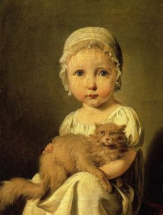 Born today in 1761 artist Louis-Léopold Boilly. portrait of Gabrielle Arnault with a very good looking cat (1815).