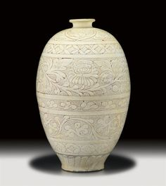 """Cizhou ware (Chinese: 磁州窯) is a type of Chinese ceramics. It was developed during the Northern Song period in the 11-12th century. """"Cizhou"""" was initially the name of a kiln area in Southern Hebei.  Cizhou ware consisted in a transparent glaze applied on a white slipped-body, but was later followed by numerous variations."""