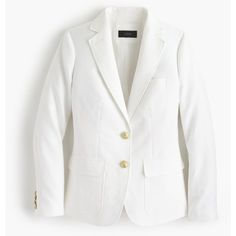 J.Crew Rhodes Blazer ($245) ❤ liked on Polyvore featuring outerwear, jackets, blazers, j crew jacket, lined jacket, j crew blazer, white blazer and blazer jacket
