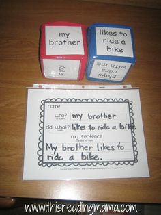 Roll-a-Sentence activity- teaches how to write a complete sentence.