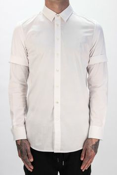 3.1 PHILLIP LIM Double Sleeve Shirt in White | Autograph Menswear