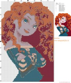 Merida (Brave) cross stitch pattern