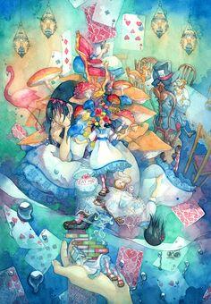 不思議の国のアリス illustration by 朱華