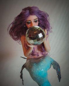 Puppen Spielzeug Ooak Mermaid art doll fantasy polymer clay sculpture Sonya by Saahra Shaver Künstler- & handgemachte Puppen