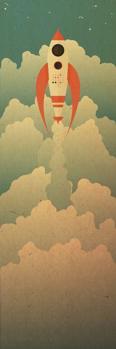 The destination art print art illustration art, art, vector Desenho Pop Art, Space Illustration, Ligne Claire, Vintage Design, Vintage Space, To Infinity And Beyond, Art Graphique, Retro Futurism, Vintage Posters