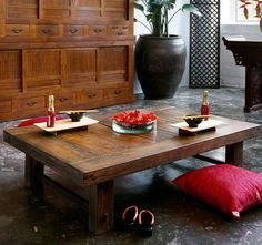 recycled wood table made from old Korean flooring!