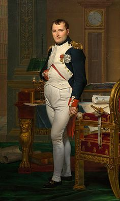 """Title: """"The Emperor Napoleon in His Study at the Tuileries"""". Artist: Jacques-Louis David. Culture of Origin: France. Location: National Gallery of Art. Date of Completion: 1812. Size: 80.3 x 49.3 in. Medium: Oil on Canvas. Description: This work is an extremely detailed portrait of Napoleon. Despite the detail, it is unlikely that Napoleon posed for this work because of how busy he was. The composition of the painting with the royal insignias elevate Napoleon's status and nobility."""