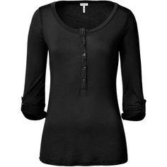 SPLENDID Black Light Jersey Button Henley ($63) ❤ liked on Polyvore