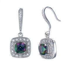 Add a dash of dazzle to the day's ensemble with these elegant earrings. Boasting sleek sterling silver and genuine amethyst gemstones, this pretty pair makes a glamorous go-to. Amethyst Gemstone, Purple Amethyst, Fish Hook Earrings, Drop Earrings, Silver Cushions, Mystic Topaz, Amethyst Earrings, Jewelry Box, Jewels