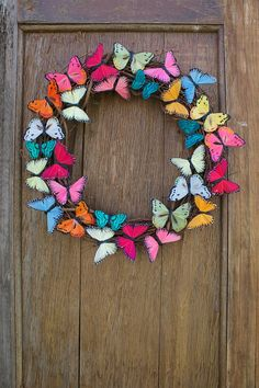 This bright and colorful wreath flaunts many vibrant feather butterflies arranged in a circular pattern as if theyre fluttering around the wreath. Each butterfly is carefully attached to a grapevine form. This wreath adds the perfect pop of color and is perfect for all spring and