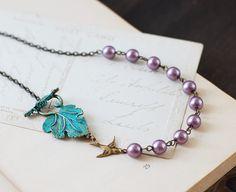 Verdigris Patina Leaf Swallow Bird Purple Pearls by LeChaim