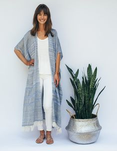 Our Blue Valentina Hand Loomed Kaftan is a versatile summer style staple. Handmade from 100% naturally dyed cotton in Mexico.