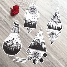 """Dotwork Forest Nature Compass Tattoo Designs, all of these designs are in my """"Adve . - Dotwork Forest Nature Compass Tattoo Designs, all of these designs are included in my """"Adventure aw - Tattoo Design Drawings, Tattoo Sleeve Designs, Tattoo Sketches, Sleeve Tattoos, Mountain Tattoo Design, Compass Tattoo Design, Mountain Tattoos, Tattoos Of Mountains, Compass Drawing"""