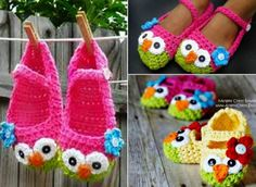 Mary Jane Owl Crochet Booties