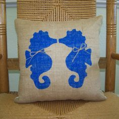 Kissing Seahorse pillow Beach pillow by KelleysCollections on Etsy
